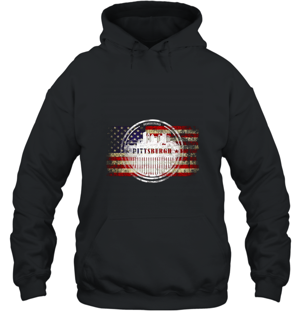 American Flag and Pittsburgh Silhouette T shirt  Vintage T Shirt Hooded
