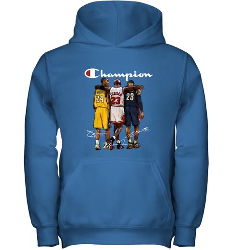 Kobe Bryant, Michael Jordan and LeBron James Champion Youth Hoodie 4